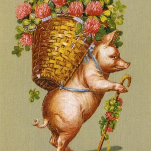 Pig with Flowers – Retro Nostalgia Postcard