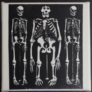 Three Skeletons – Handprinted Textile Picture