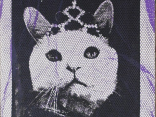 """Molly with Tiara"" – Textile hand printed picture"