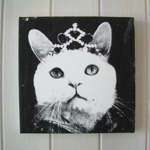 Molly with Tiara – Black & White Textile Print Picture