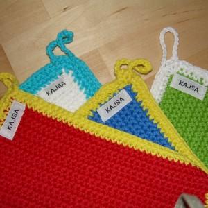 """Kajsa"" –  Set of 3 Handmade Crochet Kettle Holder/ Svenska Grytlappar"