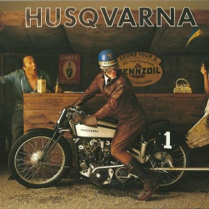 Husqvarna Motorbike: at the Petrol Station – Swedish Nostalgia Postcard
