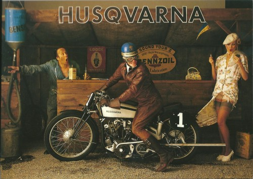 Husqvarna Motorbike: at the Petrol Station – Swedish Nostalgia Poster