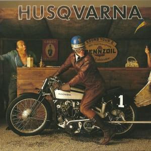 Husqvarna Motorbike: at the Petrol Station – Swedish Nostalgia Postcard