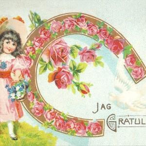 Congratulations with Roses – Swedish Nostalgia Postcard