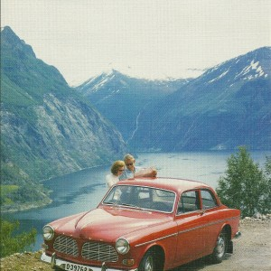 Volvo Amazon and the Fjord – Swedish Nostalgia Postcard