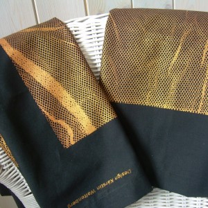 """ Golden Seaweed"" – Set of 2 Handprinted Pillow Cases"
