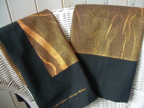 """ Gold & Black"" – Set of 2 Handprinted Pillow Cases"