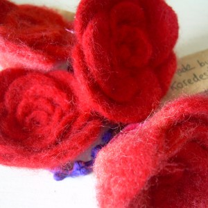 """Roseanna"" – Red Felt Roses – Handmade Hair Decoration Band"
