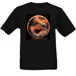 """Stockholm City Bird"" – Black T-Shirt with Art Print size XL"