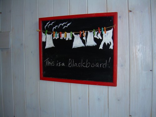 """ Laundry Day in Listonhill"" – Blackboard with Clothesline and Mini Pegs"