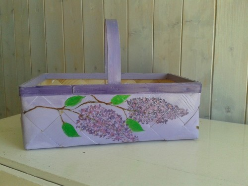 """Lilacs and Bird Cherry"" – Plaited Woodchip Basket"