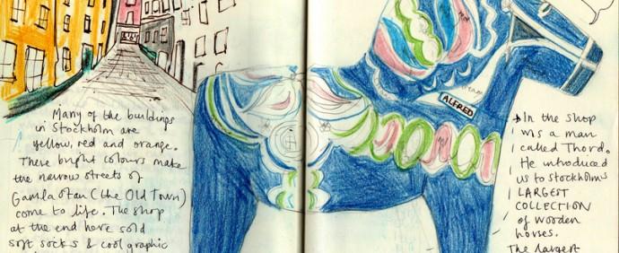 gamla stan sketchbook Sweden Sara Edmonds