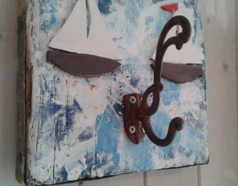 """Rough Sea on Kattegatt"" –  Hook on painted chunky recycled wood plate"