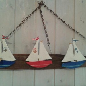 """"""" Nordic Neighbours Regatta"""" – Driftwood hooks on driftwood with sailing boats"""