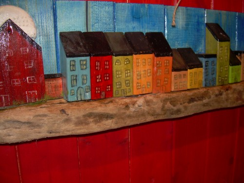 Stockholm Skyline & The Globe Arena – Wall art on driftwood and recycled wood
