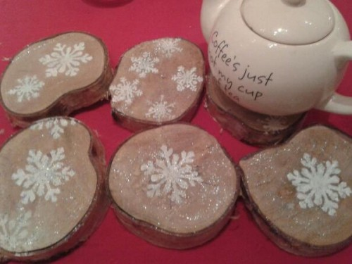 """Snowflake"" – Sparkling Birch Coaster -Trivet"