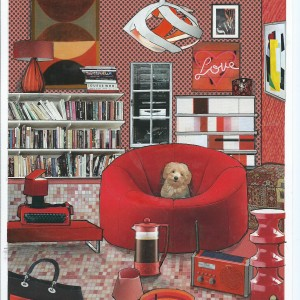 """'Coffee Break' – Card from the serie """"Great Expectations"""" room interior & a dog"""