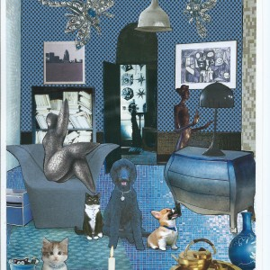 """'Hello Whoodat' – Card from the serie """"Great Expectations"""" room interior & a dog"""
