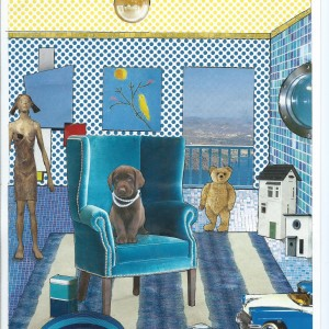 """'Home Alone"""" – Card from the serie """"Great Expectations"""" room interior & a dog"""