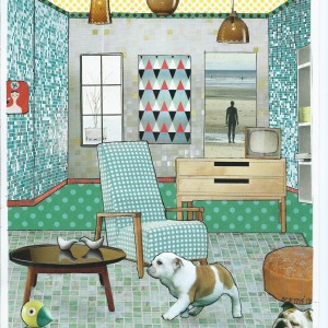 """'Of' 'Out' ! –  Card from the serie """"Great Expectations"""" room interior & a dog"""