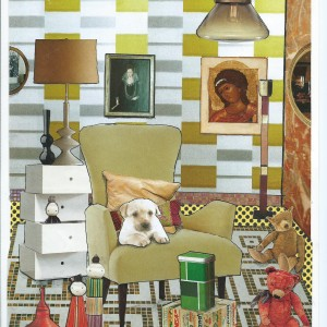 """'Waiting for treats' – Card from the serie """"Great Expectations"""" – room interior & a dog"""