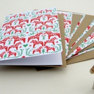 """Dalahorse Christmas Card –  Pack of 6 cards with a very Swedish symbol """"the Dalahäst""""."""