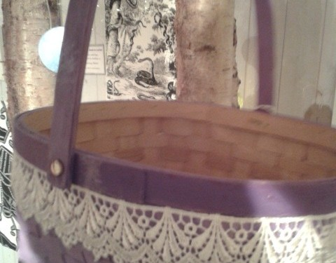 """"""" Lilac and Lace"""" – Handpainted Basket in bright lilac with lace."""