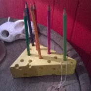 """""""A Slice of Swedish Cheese"""" – Pencil holder in wood"""