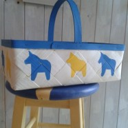 Swedish Yellow & Blue Dala Horse Basket
