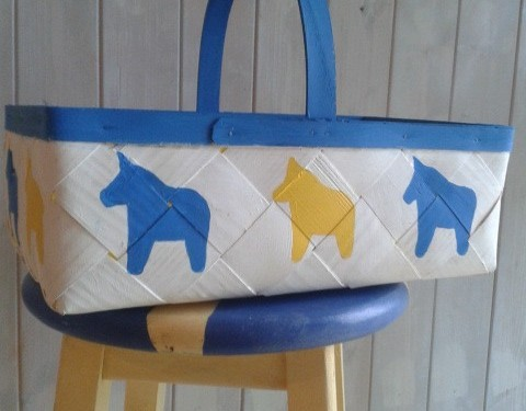 Swedish Yellow & Blue Dala Horse Basket