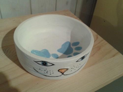Cat Paw Print Wooden Bowl