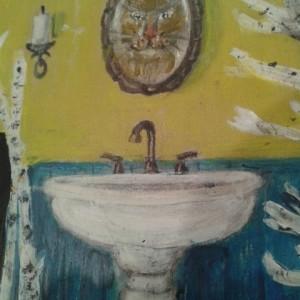 """""""Lynx"""" Bathroom Sign – Handpainted upcycled bathroom door sign"""