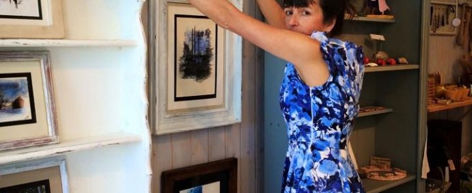 Louise Turner putting up her work 13th of May 2015