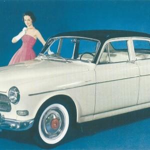 Volvo Amazon White – Swedish Nostalgia Postcard