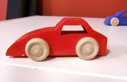 "Red ""Down Hill  Car""  – Wooden Toy Cars – Made in Sweden"