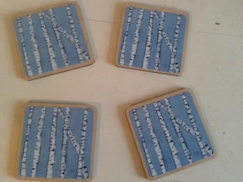 Set of 4 Blue Birch Trees – Coaster