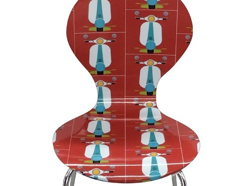 """Scooters""  Laminated Retro ""Arne Jacobsen style"" chairs from KITSCHIKU"