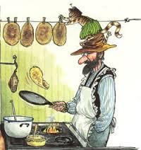 Findus & Pannkakstårtan (* Findus & Pettsson making Pancakes) – Postcard