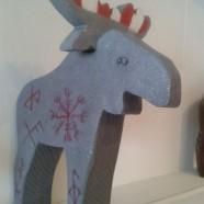 Viking Moose – Granite grey Wooden Moose with Viking Symbols