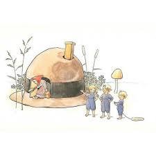 Hattstugan *The Hat House –  Large A4 Postcard by Elsa Beskow