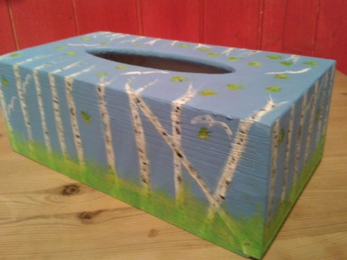 Blue Birch Tissue Box – Hand Painted Wooden Box