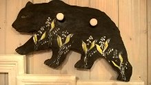 """Lily the Brown Bear""- Wooden Bear board with 2 hangers"