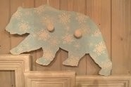 Snowflake Bear – Birch wood board with two rustic hanger