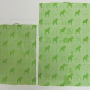 "Oh So Swedish Kitchen Towel-  ""Dalahorses"" GREEN"