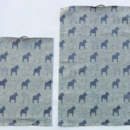 "Oh So Swedish KitchenTowel – ""Dalahorses"" BLUE"