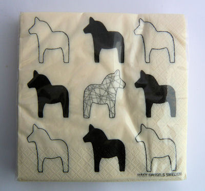 Oh So Swedish Dalahorse Napkins – Black &White