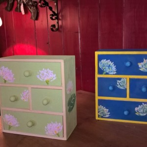 Water Lily Mini Chest of Drawers – Green & Soft Pink