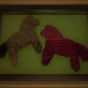 Two Swedish Dala Horses – needle felted wool sculpture-framed