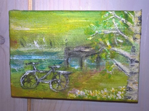 Springtime Cycling Tour out to the Jetty – Acrylic on Canvas